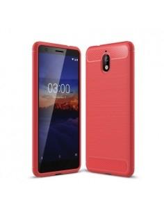 Nokia 3.1 karbon mintás tok - PIROS