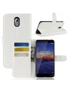 Oldalra nyíló tok Nokia 3.1 telefonhoz - FEHÉR