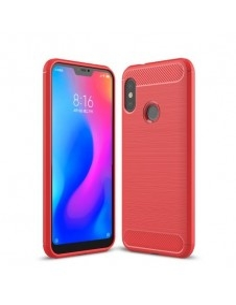 Xiaomi Mi A2 Lite / Redmi 6 Pro karbon mintás tok - PIROS