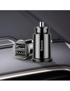 BASEUS intelligens mini univerzális szivargyújtós autós töltő gyorstöltő funkcióval DUAL USB - FEKETE