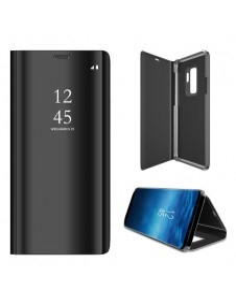 Flip telefontok átlátszó előlappal Samsung Galaxy S9 Plus készülékhez - FEKETE