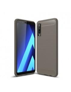 Samsung Galaxy A7 (2018) karbon mintás tok - SZÜRKE