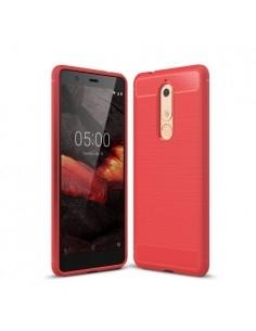 Nokia 5.1 karbon mintás tok - PIROS