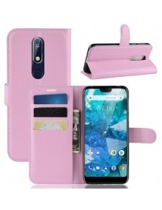 Oldalra nyíló tok Nokia 7.1 telefonhoz - RÓZSASZÍN