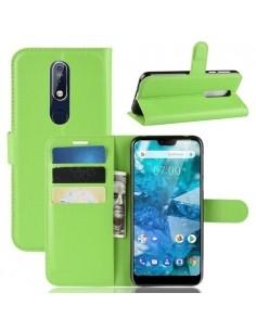 Oldalra nyíló tok Nokia 7.1 telefonhoz - ZÖLD