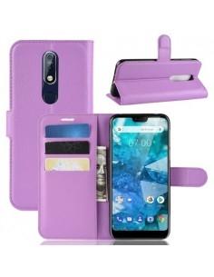 Oldalra nyíló tok Nokia 7.1 telefonhoz - LILA