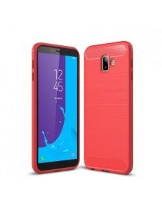 Samsung Galaxy J6 Plus karbon mintás tok - PIROS