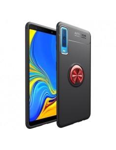 Samsung Galaxy A7 (2018) gyűrűs tok - FEKETE/PIROS