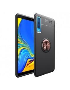 Samsung Galaxy A7 (2018) gyűrűs tok - FEKETE/RÓZSAARANY