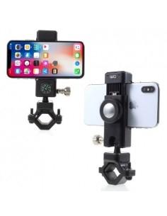 Univerzális LED lámpás kerékpár kormányra rögzíthető telefontartó - 50-90 mm - FEKETE