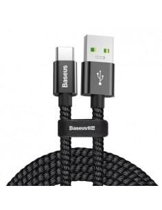 BASEUS 1 méteres törésgátlós Type-C USB gyorstöltő kábel, adatkábel - FEKETE