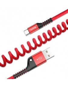 BASEUS 2A 1 méteres csavart USB Type-C töltőkábel, adatkábel - PIROS