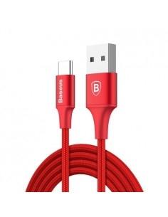 BASEUS 2A Type-C USB 2m gyorstöltő kábel, adatkábel, éjjeli lámpával - PIROS