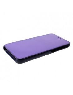 Flip telefontok átlátszó előlappal Samsung Galaxy J6 Plus készülékhez - SÖTÉTLILA