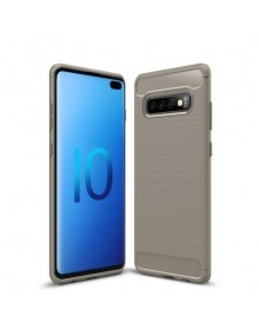 Samsung Galaxy S10 Plus karbon mintás tok - SZÜRKE