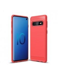 Samsung Galaxy S10 karbon mintás tok - PIROS