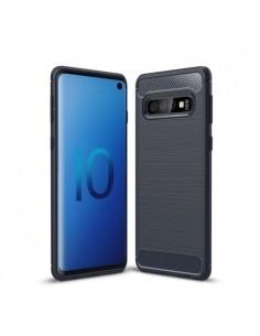 Samsung Galaxy S10 karbon mintás tok - KÉK