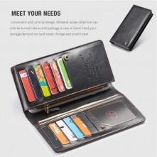 CaseMe-012 univerzális telefontartó pénztárca - valódi bőr - FEKETE