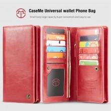 CaseMe-012 univerzális telefontartó pénztárca - valódi bőr - PIROS