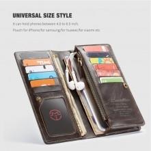 CaseMe-012 univerzális telefontartó pénztárca - valódi bőr - BARNA