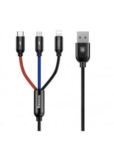 Baseus 3.5A három az egyben gyorstöltő kábel Micro USB + 8 Pin + Type-C csatlakozással