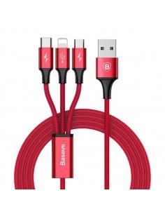 Baseus Speed Series 1.2m 3A (1 x 8pin + 1 x Micro USB + 1 x Type-C to USB) adatkábel és töltőkábel - PIROS