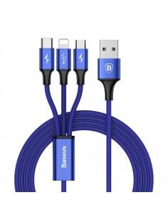 Baseus Speed Series 1.2m 3A (1 x 8pin + 1 x Micro USB + 1 x Type-C to USB) adatkábel és töltőkábel - KÉK