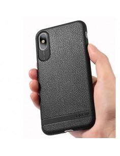 USAMS rugalmas bőr tapintású TPU tok iPhone XS / X készülékhez - FEKETE