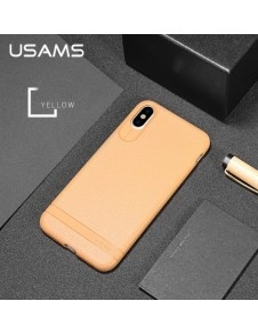 USAMS rugalmas bőr tapintású TPU tok iPhone XS / X készülékhez - BARNA