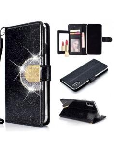 Tükrös csillámos telefontok iPhone XS Max telefonhoz - FEKETE