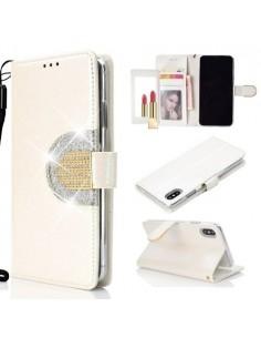 Tükrös csillámos telefontok iPhone XS Max telefonhoz - FEHÉR