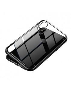 BASEUS mágneses fém keret + Kijelzővédő edzett üveg tok iPhone XS Max készülékhez - FEKETE