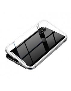 BASEUS mágneses fém keret + Kijelzővédő edzett üveg tok iPhone XS Max készülékhez - EZÜST