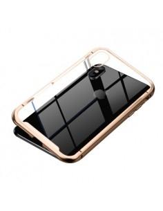 BASEUS mágneses fém keret + Kijelzővédő edzett üveg tok iPhone XS Max készülékhez - ARANY