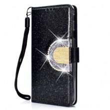 Tükrös csillámos mobiltok Samsung Galaxy J4 Plus telefonhoz - FEKETE
