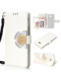 Tükrös csillámos mobiltok Samsung Galaxy J4 Plus telefonhoz - FEHÉR