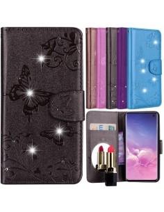 Tükrös csillámos telefontok Samsung Galaxy S10e telefonhoz - FEKETE