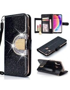 Tükrös csillámos tok Huawei P20 Lite telefonhoz - FEKETE