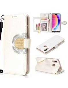 Tükrös csillámos tok Huawei P20 Lite telefonhoz - FEHÉR
