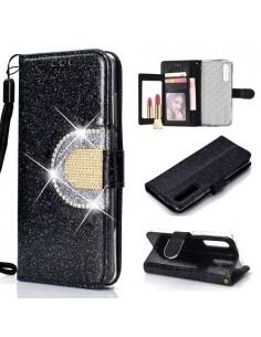 Tükrös csillámos tok Huawei P30 telefonhoz - FEKETE