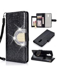 Tükrös csillámos tok Huawei Mate 20 Lite telefonhoz - FEKETE