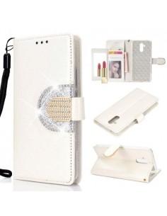 Tükrös csillámos tok Huawei Mate 20 Lite telefonhoz - FEHÉR