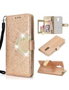 Tükrös csillámos tok Huawei Mate 20 Lite telefonhoz - ARANY