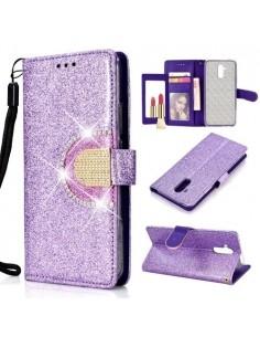 Tükrös csillámos tok Huawei Mate 20 Lite telefonhoz - LILA