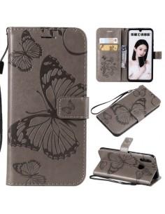 Dombornyomott lepkés notesztok Huawei Honor 10 Lite / P Smart (2019) telefonhoz - EZÜST