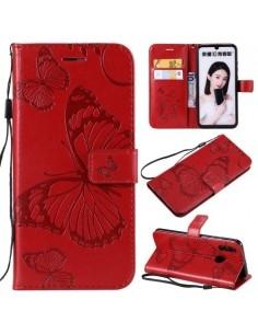 Dombornyomott lepkés notesztok Huawei Honor 10 Lite / P Smart (2019) telefonhoz - PIROS
