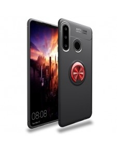 Huawei P30 Lite gyűrűs tok - FEKETE/PIROS
