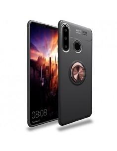 Huawei P30 Lite gyűrűs tok - FEKETE/RÓZSAARANY