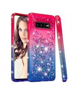 Rugalmas szuper mozgó csillámos tok Samsung Galaxy S10 Plus készülékhez - PIROS/KÉK