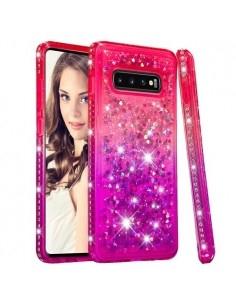 Rugalmas szuper mozgó csillámos tok Samsung Galaxy S10 Plus készülékhez - PIROS/LILA